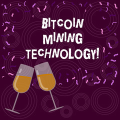 Writing note showing Bitcoin Mining Technology. Business photo showcasing trades processing in the digital currency system Filled Wine Glass for Celebration with Scattered Confetti photo