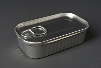 Close up of closed sliver tin container