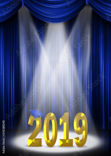 blue graduation cap on 2019 gold text in stage spotlight with
