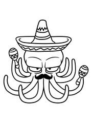 sombrero mexiko mexikaner südamerika musik rasseln hut oktopus krake kopffüßer kalmar tentakel tintenfisch unterwasser monster comic cartoon clipart lustig design meer wasser tauchen fisch