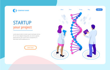 Isometric DNA helix, DNA Analysing concept. Digital blue background. Innovation, medicine, and technology. Web page or lending apge design templates