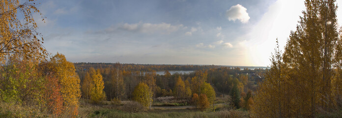Panoramic view of trees against cloudy sky in Krasny Bor during autumn