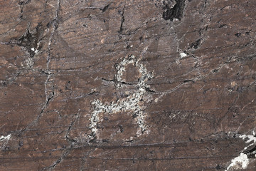 Close-up of cave painting on stone at Elangash valley