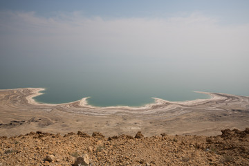 Coast of the dead sea in Israel, with very low water level