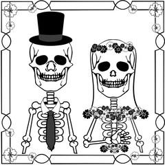 wedding skulls with flourishes