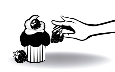 cupcake with strawberry and hand 2