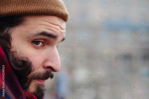 de5b6dc2aca Man with beard and mustache fall and winter season. Hipster cool ...