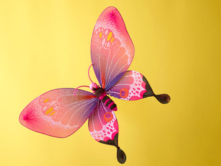 Pink fake butterfly