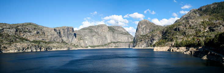 O`Shaughnessy Dam holding back Hetch Hetchy reservoir on the Tuolumne River in Yosemite National Park