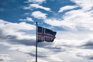 Icelandic Flag at Strandarkirkja, Selvogur, Iceland