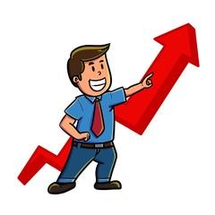 businessman pointing up arrow