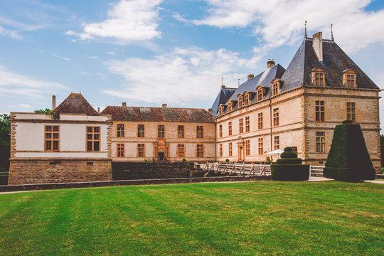 July 19, 2017. Village Cormatin France burgundy region in summer. Museum old castle, fortress Ch teau de Cormatin in sunny weather