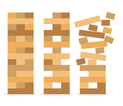 Jenga icon vector illustration. Set of tower game. Wooden stack block toy
