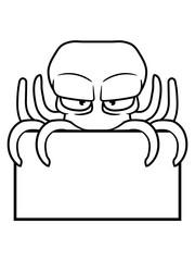 leere fläche rand verstecken schild schreiben name text böser oktopus krake kopffüßer kalmar tentakel tintenfisch unterwasser monster comic cartoon clipart lustig design meer wasser tauchen fisch