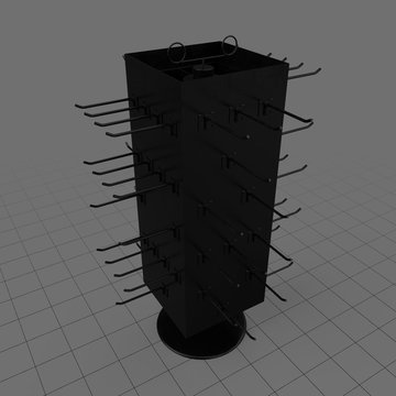 Four sided hanging display rack