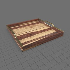 Shallow wooden tray