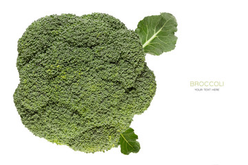 Top view of fresh broccoli isolated on white