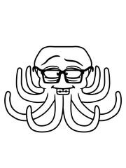 intelligent nerd schlau geek hornbrille zahnspange oktopus krake kopffüßer kalmar tentakel tintenfisch unterwasser monster comic cartoon clipart lustig design meer wasser tauchen fisch