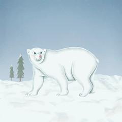 Wall Mural - Hand-drawn walking white polar bear