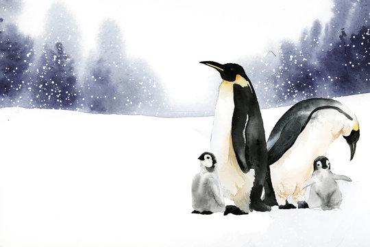Penguins in a winter wonderland watercolor vector
