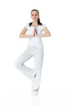 Young sports woman. Yoga.