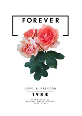 Rose graphic print for fashion or other uses.Floral print with text in pink color.