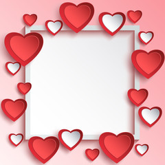 Abstract Valentines day background with 3d paper hearts