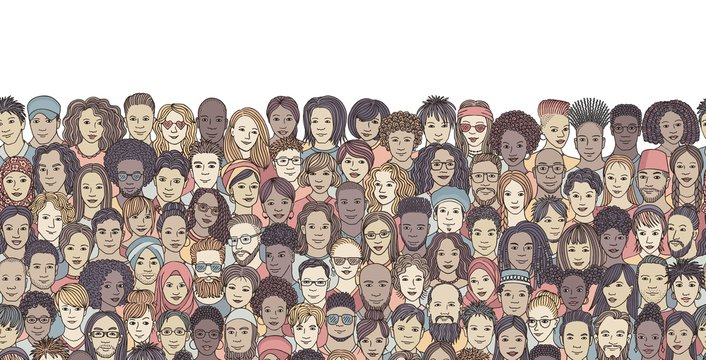 Seamless banner with a diverse crowd of people, hand drawn faces of various ethnicities