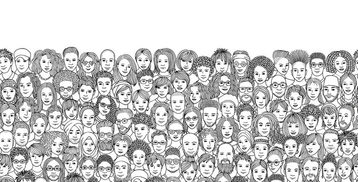 Seamless banner with a diverse crowd of people, hand drawn faces of various ethnicities, black and white ink illustration