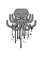 graffiti tinte tropfen farbe spray böser oktopus krake kopffüßer kalmar tentakel tintenfisch unterwasser monster comic cartoon clipart lustig design meer wasser tauchen fisch