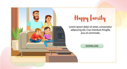 Happy Family Web Page Cartoon Vector Template