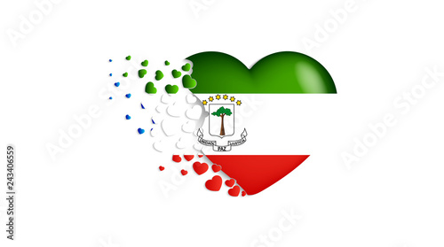National Flag Of Equatorial Guinea In Heart Illustration