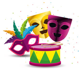 party masks with drum to mardi gras