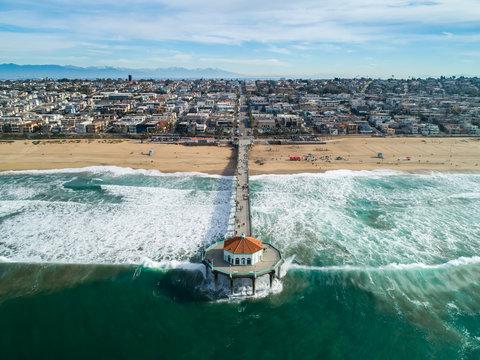 Manhattan Beach California Pier as seen from the Ocean
