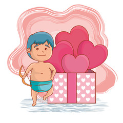 cupid with arc and presents gifts with hearts