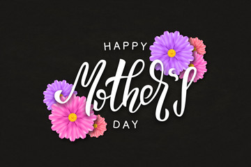 Vector realistic isolated typography logo for Happy Mothers Day for template decoration and covering on the black background.