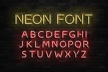 Vector realistic isolated neon sign of Alphabet Font letters for template decoration and layout covering on the wall background.