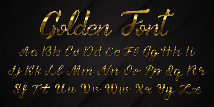 Vector realistic isolated golden handwritten font letters for template decoration and layout covering on the dark background.