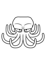 design böser oktopus krake kopffüßer kalmar tentakel tintenfisch unterwasser monster comic cartoon clipart lustig meer wasser tauchen fisch