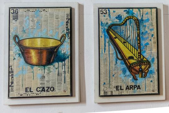 Loteria mexicana, cartas de juego de mesa dibujos tradicionales, diseño mexicano, ingenio, tradicional