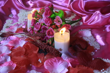 Romantic Valentine day with photoshoot bouquet and candle burning