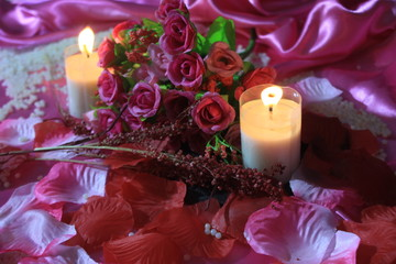 Sweet momen with decoration bouquet and candle burning. Photoshoot Valentine day