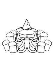bier oktoberfest saufen trinken durst party feiern krug maß glas alkohol betrunken oktopus krake kopffüßer kalmar tentakel tintenfisch unterwasser monster comic cartoon clipart lustig fisch