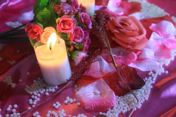 Concept decoration Valentine day with bouquet and candle burning