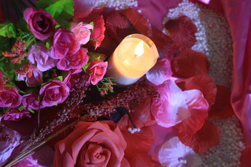 Photoshoot romantic moment Valentine day with decoration bouquet and candle burning