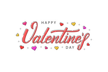 Vector cartoon isolated typography logo for Happy Valentines Day for template decoration and covering on the white background.