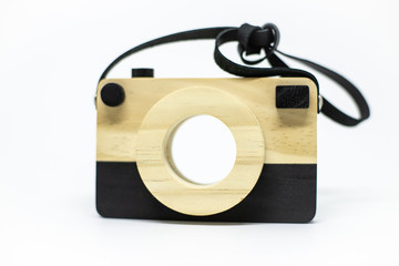 wooden camera isolated on white background