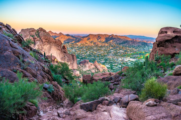 Zelfklevend Fotobehang Arizona Colorful Sunrise on Camelback Mountain in Phoenix, Arizona