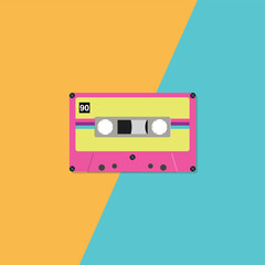 Retro cassette tape on duotone background