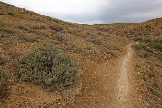 The dry desolete trail in Highline Lake State Park, Mesa County, Colorado.